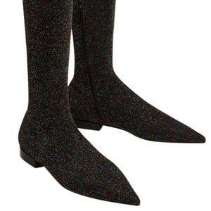 Zara Thigh High Stretchy Glitter Boots